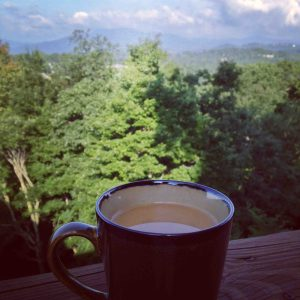 Mountain views + coffee = bliss.