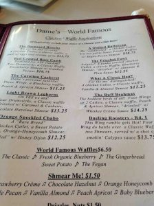 Dame's world famous chicken and waffles is not to be missed in Durham!