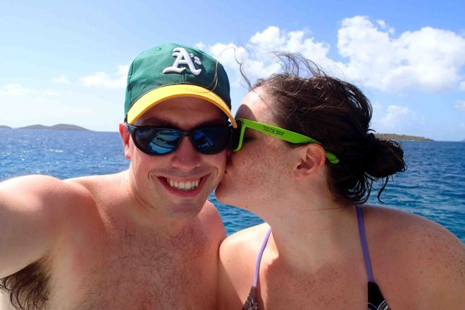 Enjoying a catamaran and snorkeling adventure in the US Virgin Islands!