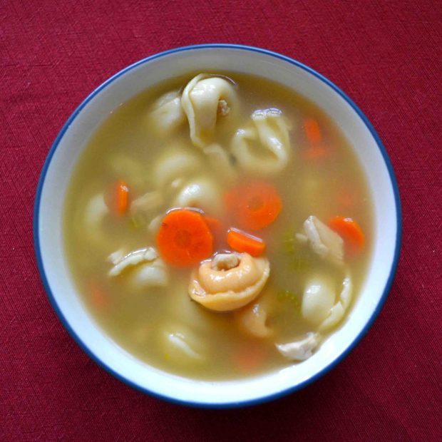 Tortellini chicken soup is a twist on a rainy day classic!