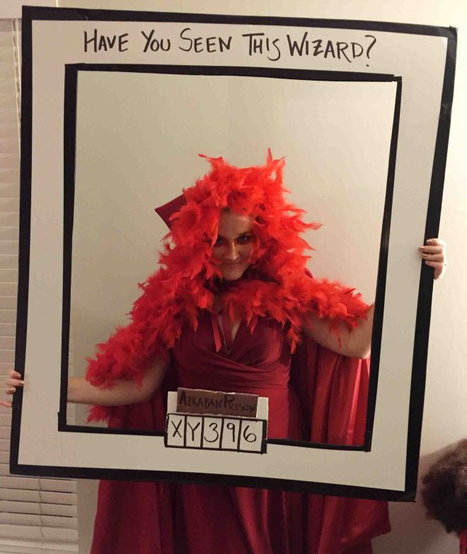 Fawkes the Pheonix at the best Halloween Harry Potter party ever!