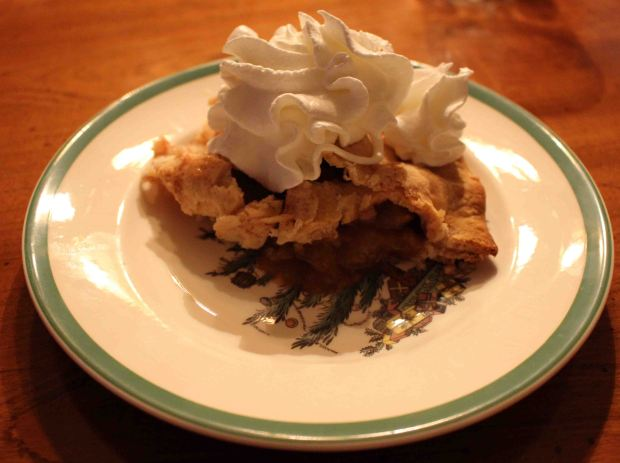 Classic Apple Pie on a Christmas china plate... can you get any more American??
