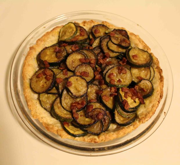 Zucchini tart with bacon as a French side dish