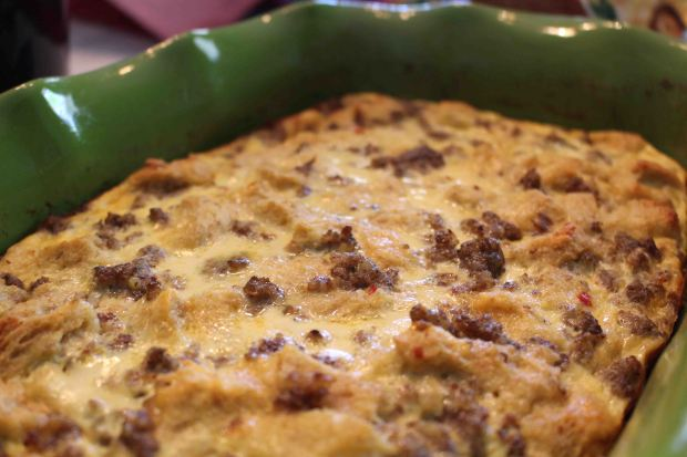 Make this sausage egg casserole the night before, so all you have to do is bake and you've got gourmet breakfast!
