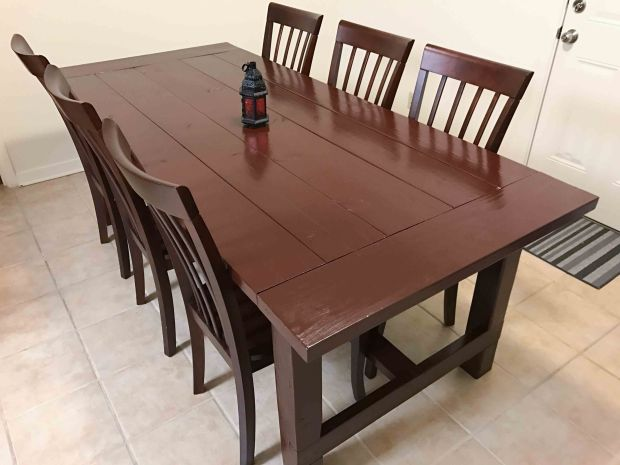 Our beautiful new kitchen table we built!