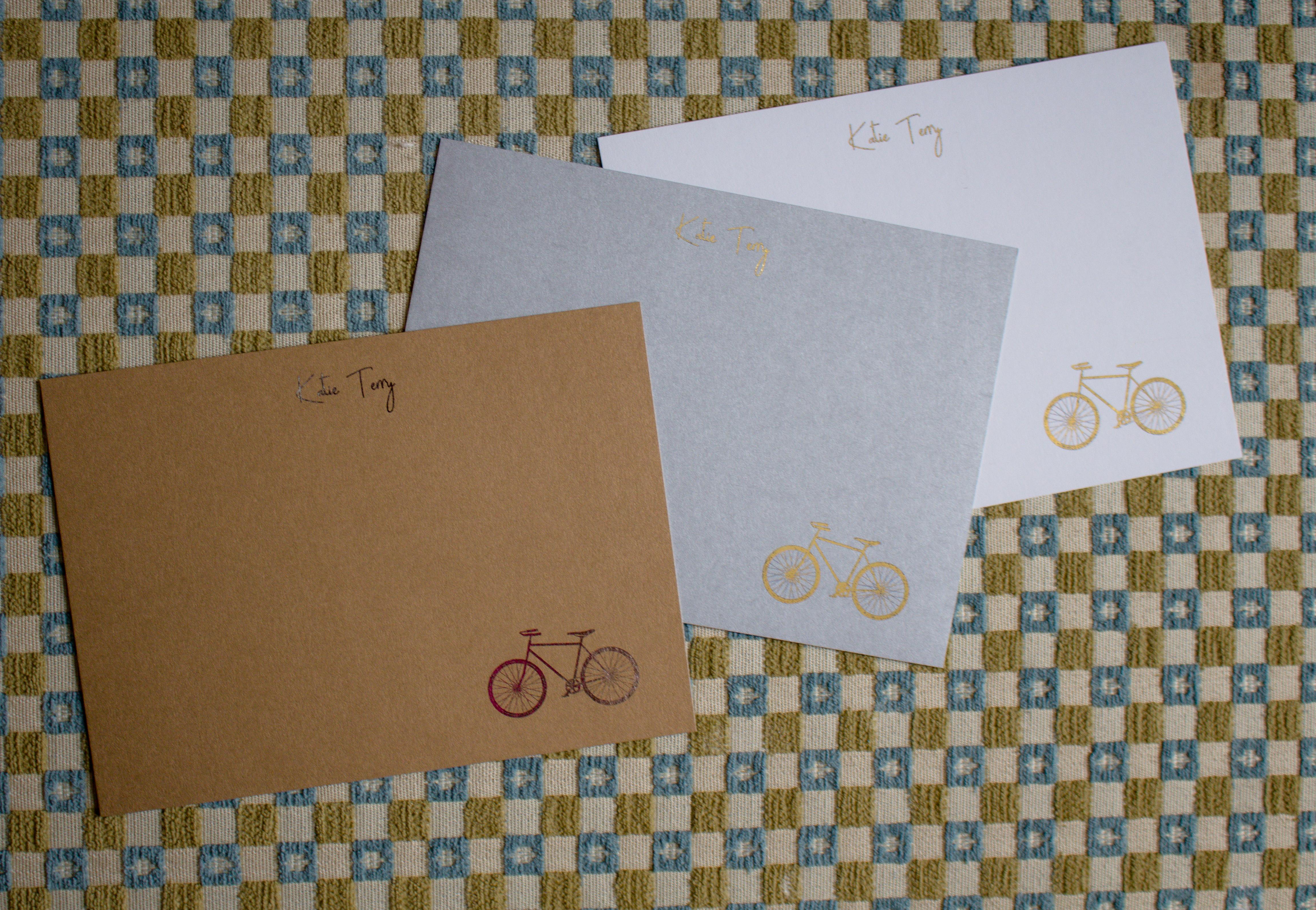 Custom handmade gold foil pressed stationery