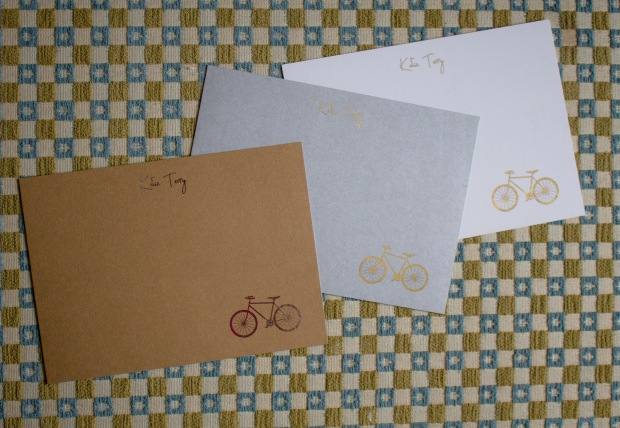Custom handmade gold foil pressed stationery