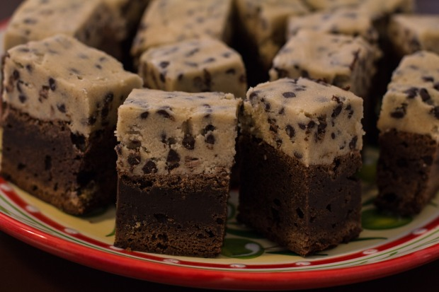 Cookie dough brownies are little pieces of dessert HEAVEN.
