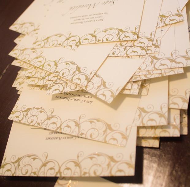 Gold foil pressed wedding invitations custom handmade elegant scroll