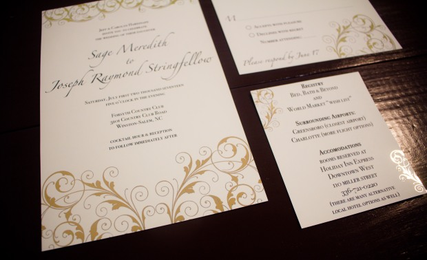 Gold foil pressed wedding invitations custom handmade elegant scroll