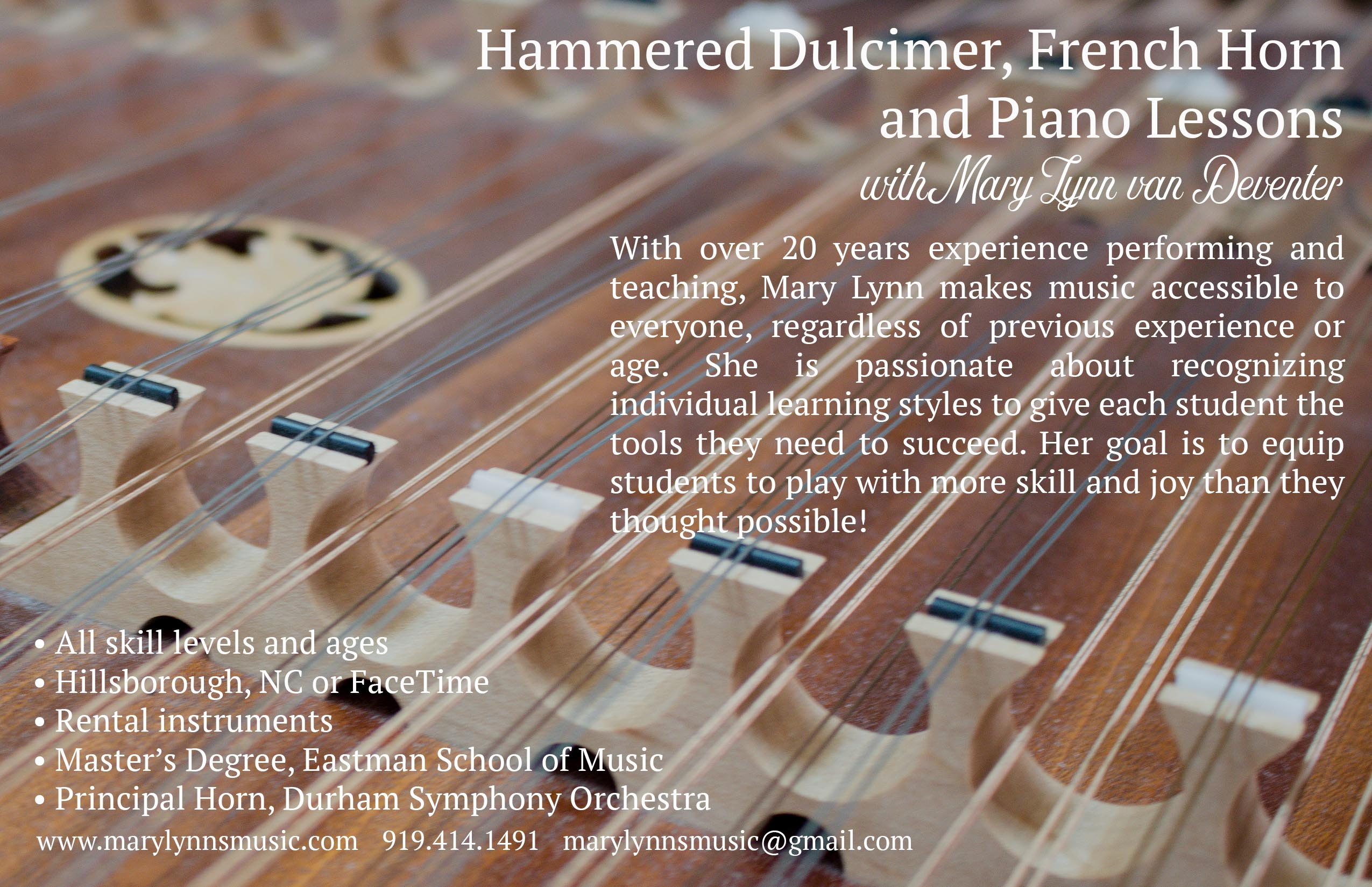 Mary Lynn van Deventer teaches hammered dulcimer, french horn, and piano! Here's a few creations I designed for her! | Teaspoon of Nose