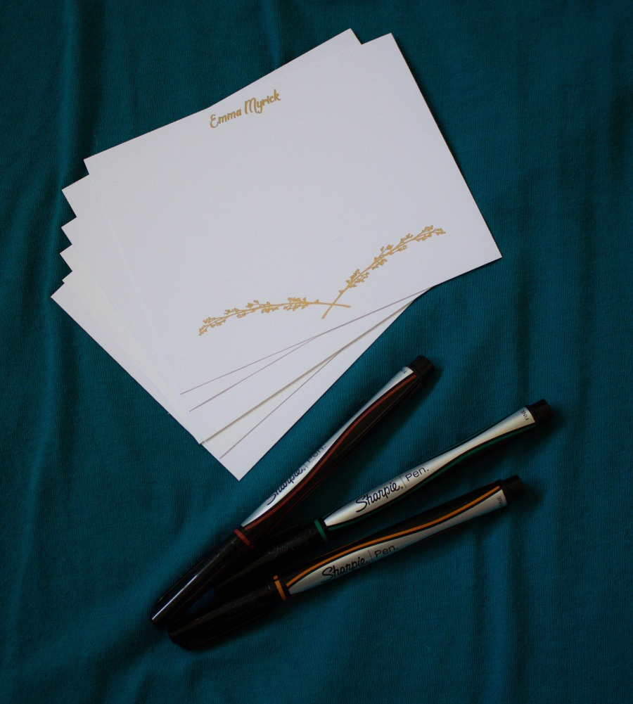 Golden branch stationery, customized by Teaspoon of Nose